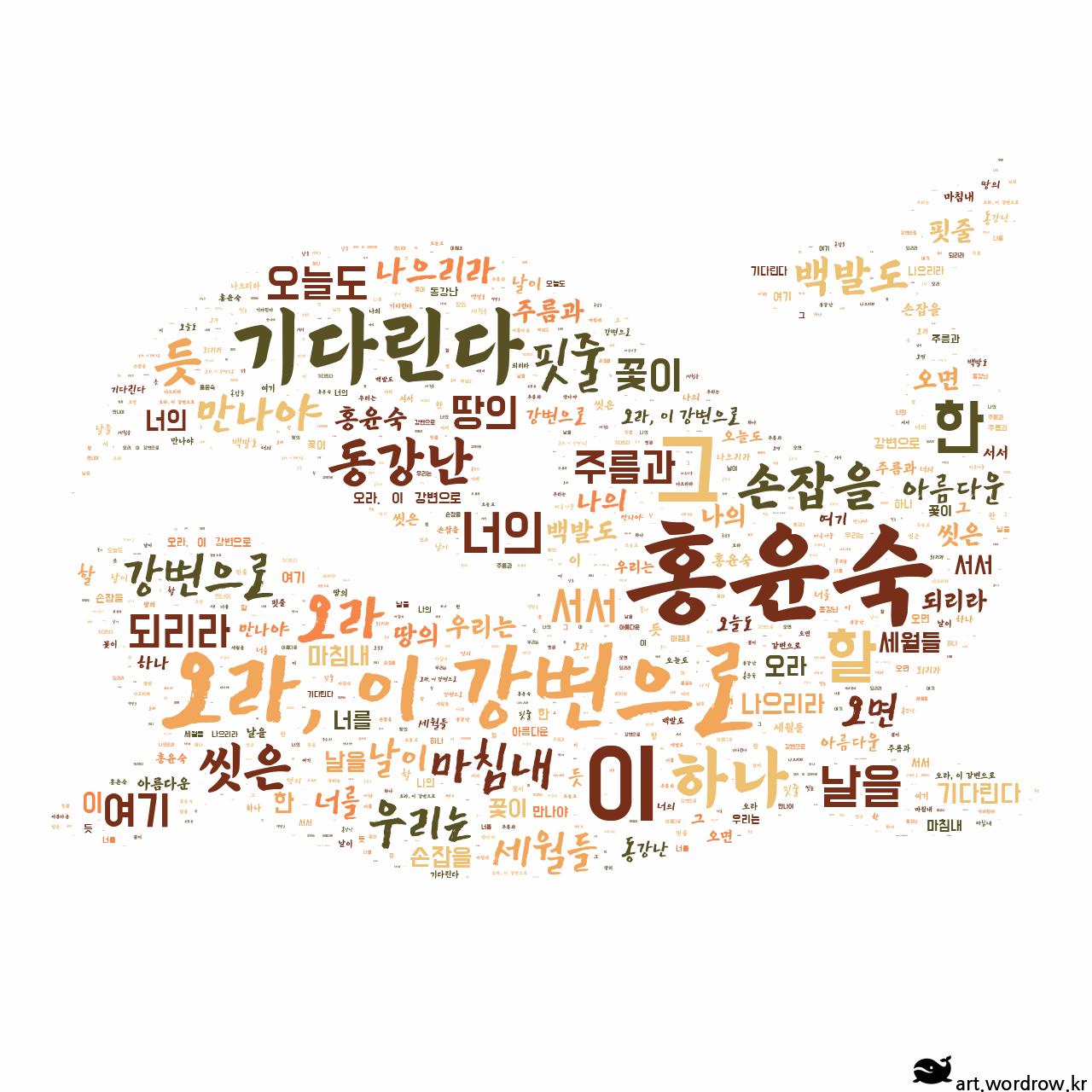 워드 클라우드: 오라, 이 강변으로 [홍윤숙]-2